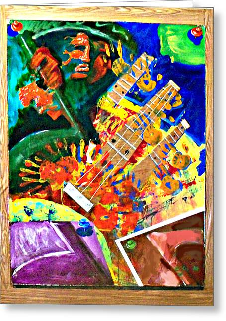 Hombre Con Guitarra Greeting Card by Elio Lopez
