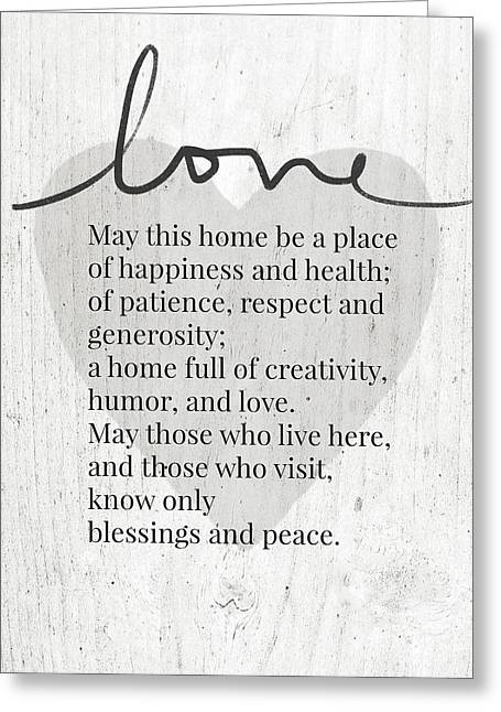 Home Blessing Rustic- Art By Linda Woods Greeting Card