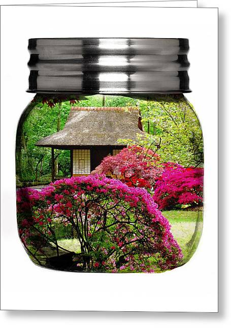Home Flower Garden In A Glass Jar Art Greeting Card by Marvin Blaine