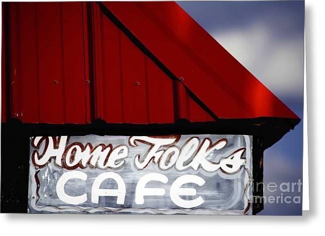 Home Folks Cafe Greeting Card by JW Hanley