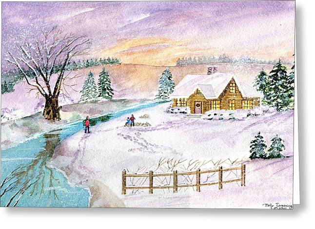 Greeting Card featuring the painting Home For Christmas by Melly Terpening