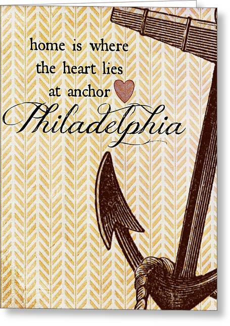 Home Is Philadelphia Anchor 1 Greeting Card