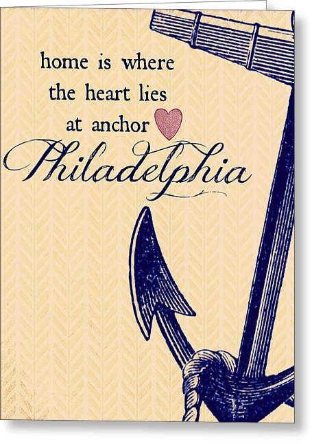 Home Is Philadelphia Anchor 3 Greeting Card