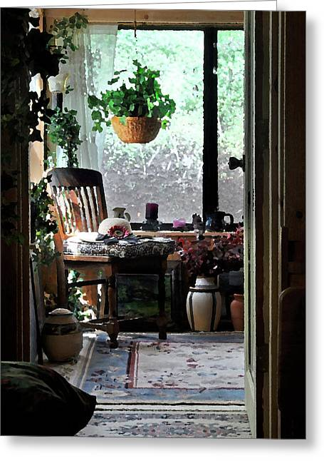 Cabin Window Digital Greeting Cards - Home is Where You Paint Your Hat Greeting Card by Vicki Lea Eggen