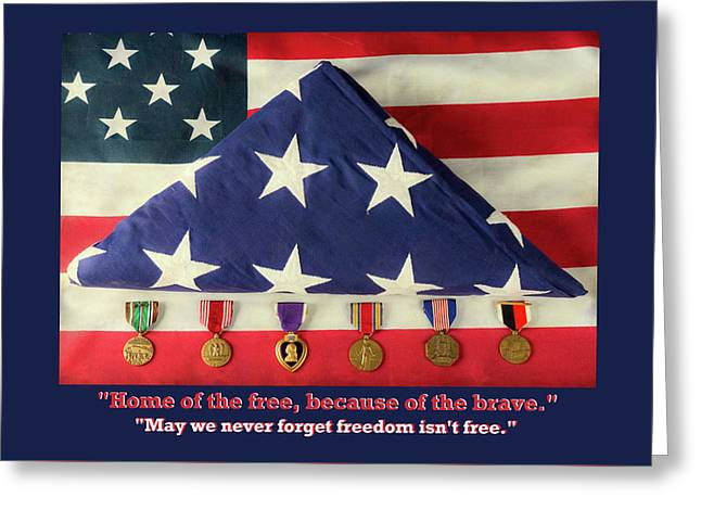 Home Of The Free Because Of The Brave Greeting Card by James BO Insogna