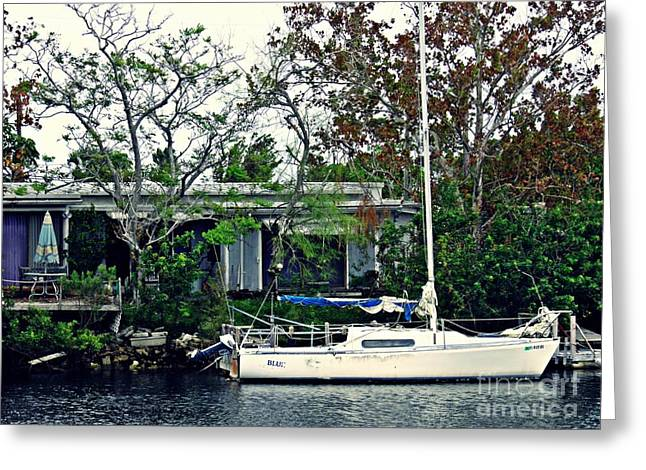 Home On A Florida Canal 1 Greeting Card