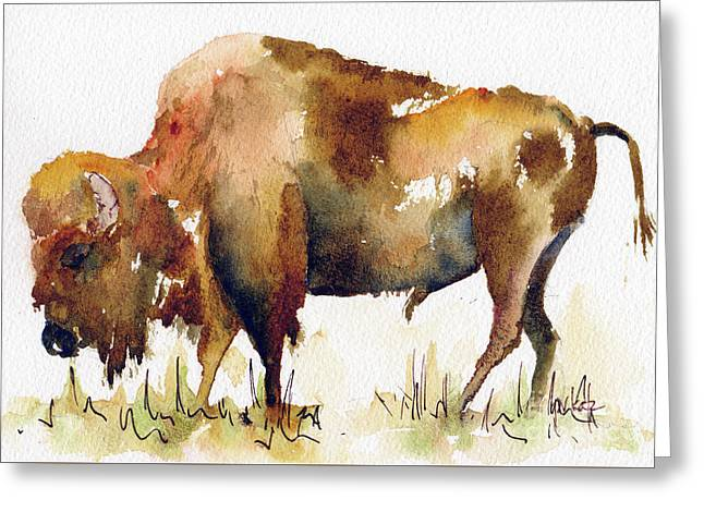 Greeting Card featuring the painting Home On The Range Buffalo by Pat Katz