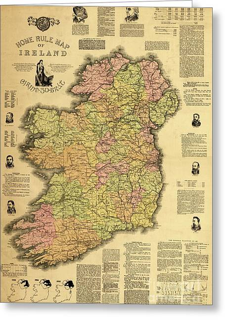 Home Rule Map Of Ireland, 1893 Greeting Card