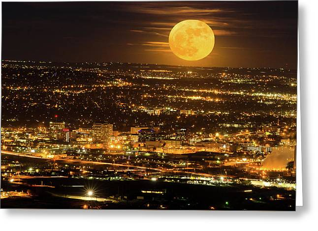 Home Sweet Hometown Bathed In The Glow Of The Super Moon  Greeting Card