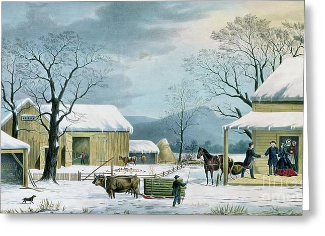 Home To Thanksgiving Greeting Card by George Durrie