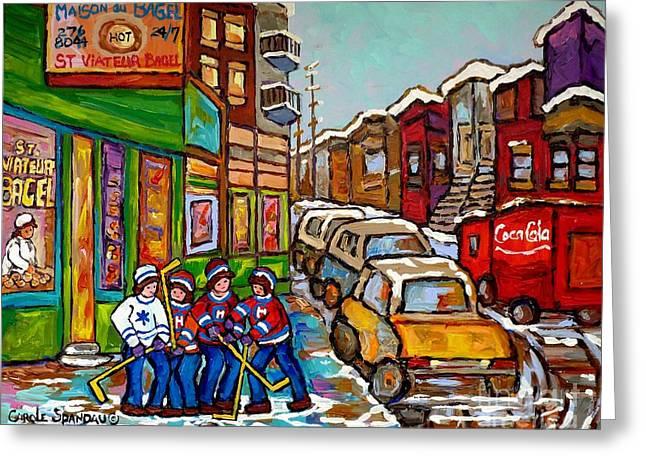 Home Town Painting St Viateur Bagel Street Scene Coca Cola Truck Montreal 375 Carole Spandau Art     Greeting Card by Carole Spandau