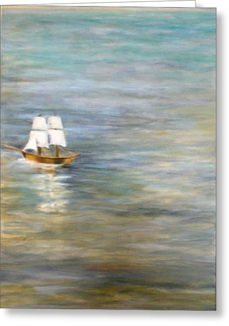Tall Ships Greeting Cards - Homecoming Left Panel Greeting Card by Diane Woods