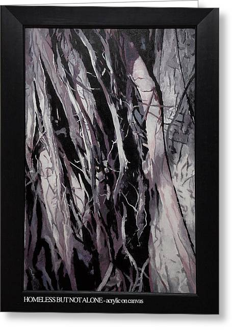 Tree Roots Paintings Greeting Cards - Homeless But Not Alone Greeting Card by Ankita Joshi