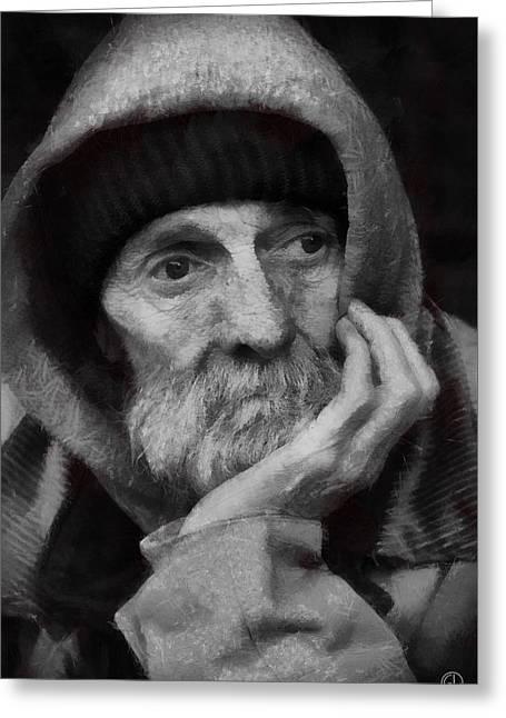 Greeting Card featuring the digital art Homeless by Gun Legler