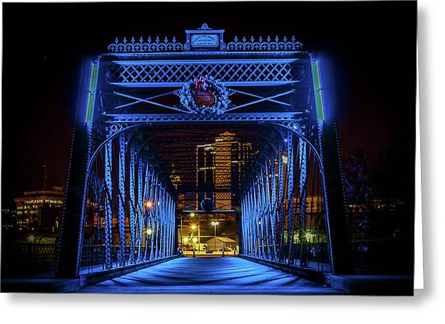 Homeless Winter Night On Wells Street Bridge - Fort Wayne Indiana Greeting Card