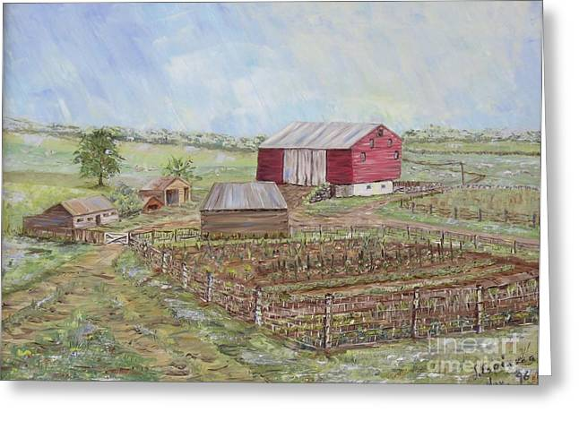 Homeplace - The Barn And Vegetable Garden Greeting Card by Judith Espinoza
