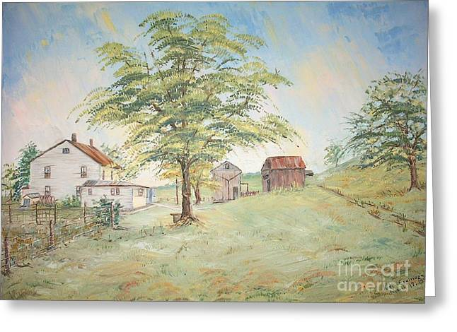 Homeplace - The Farmhouse Greeting Card by Judith Espinoza