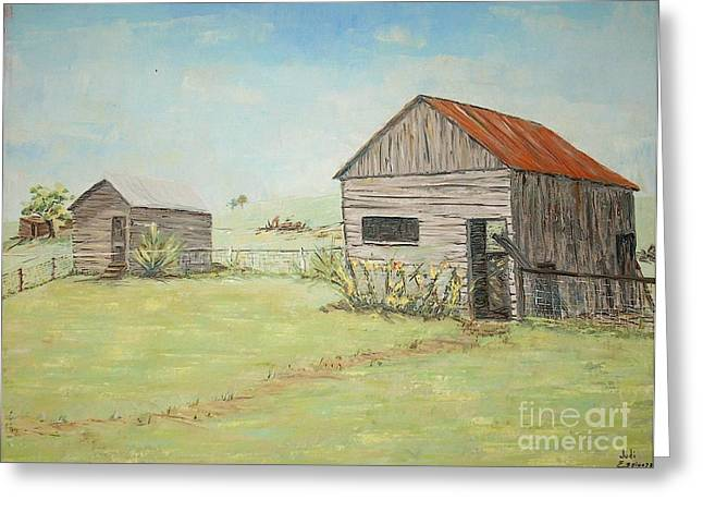 Homeplace - The Smokehouse And Woodhouse Greeting Card by Judith Espinoza