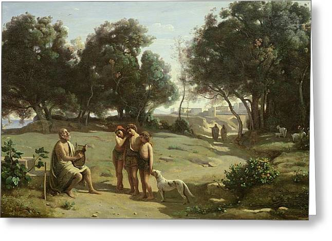 Jean-baptiste Greeting Cards - Homer and the Shepherds in a Landscape Greeting Card by Jean Baptiste Camille Corot