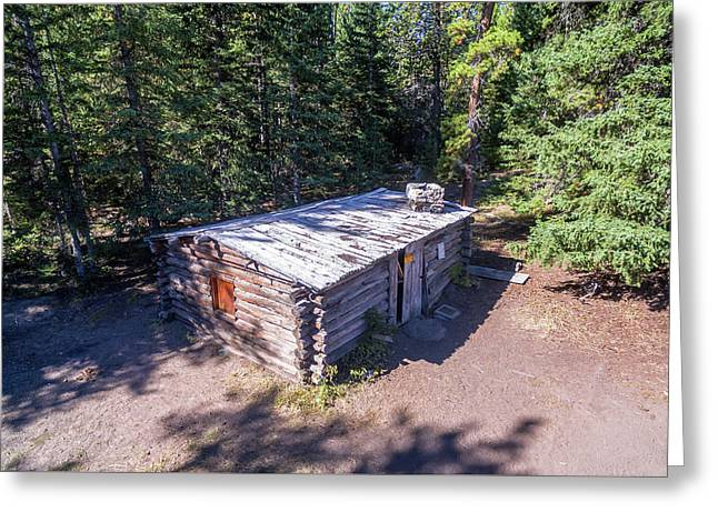 Homestead Cabin Aerial Greeting Card by Jess Kraft