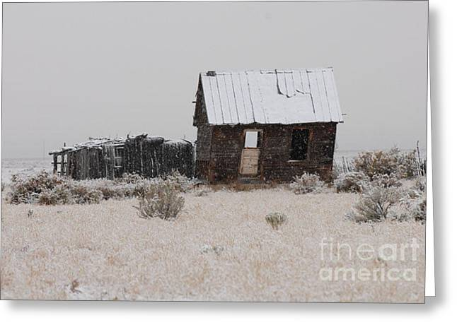 Homestead In Winter - Circa 1856 Greeting Card by Dennis Hammer