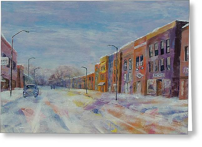 Greeting Card featuring the painting Hometown Winter by Susan DeLain
