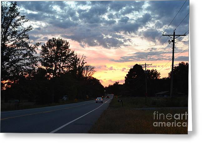 Homeward Bound Evening Sky Greeting Card by Karen Francis