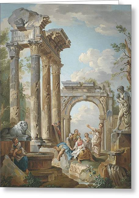 Homily Of An Apostle In Roman Ruins Greeting Card