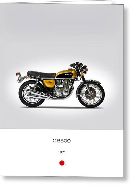 Honda Cb500 1971 Greeting Card by Mark Rogan