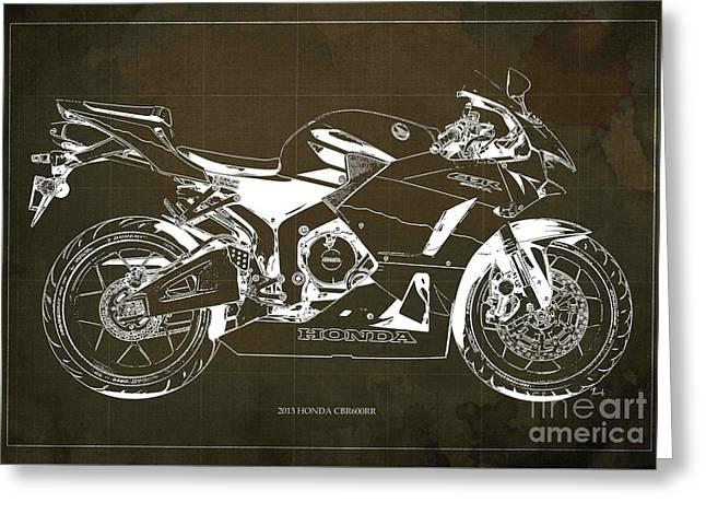 Honda Cbr600rr 2013 Blueprint, Brown Vintage Background Greeting Card by Pablo Franchi