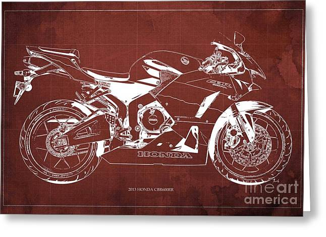 Honda Cbr600rr 2013 Blueprint, Red Vintage Background Greeting Card