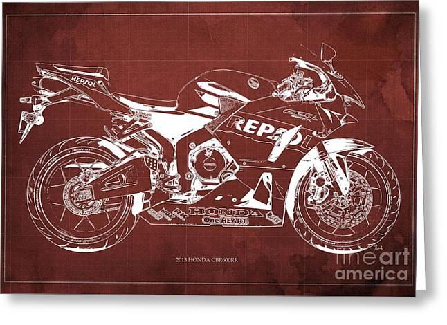 Honda Cbr600rr Blueprint, Red Vintage Background Greeting Card by Pablo Franchi