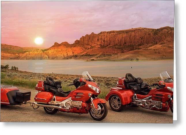 Honda Goldwing Bike Trike And Trailer Greeting Card
