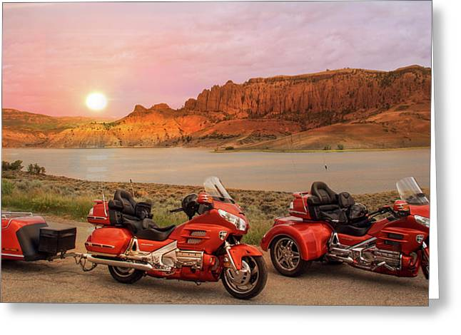 Honda Goldwing Bike Trike And Trailer Greeting Card