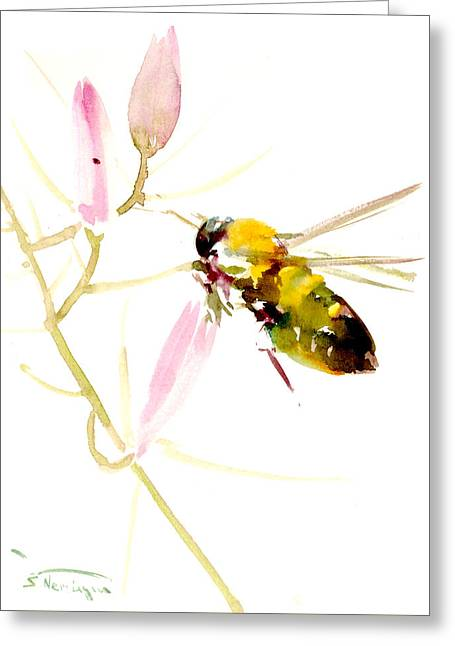 Honey Bee And Pink Flower Greeting Card