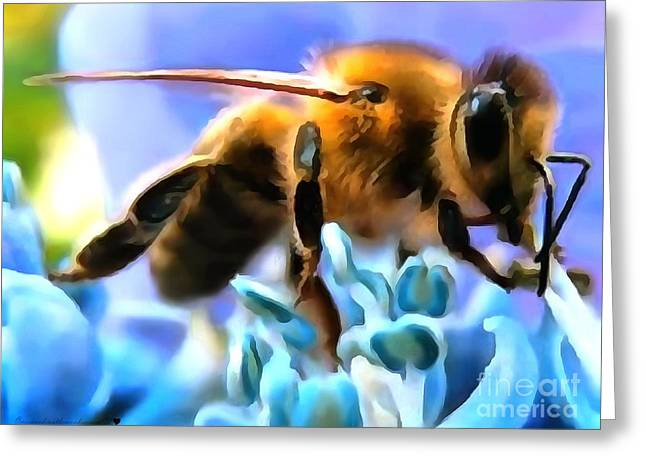 Honey Bee In Interior Design Thick Paint Greeting Card