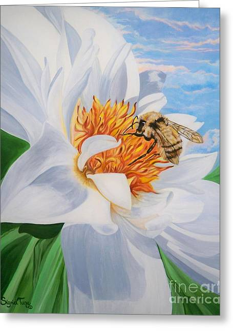 Greeting Card featuring the painting Honey Bee On White Flower by Sigrid Tune