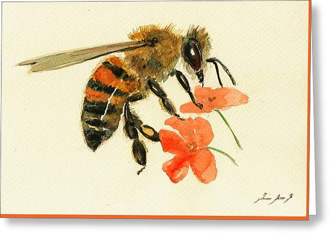 Honey Bee Watercolor Painting Greeting Card
