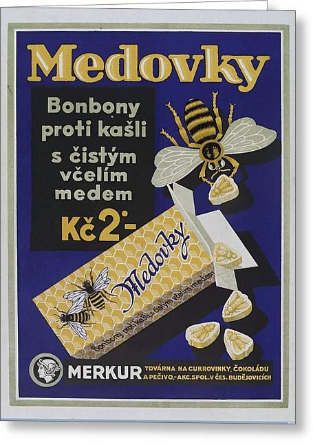 Honey-flavoured Cough Sweets In The Form Of Bees. Colour Lithograph, Ca. 1900. Greeting Card