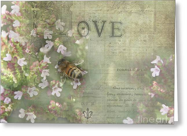 Honey Love Greeting Card by Victoria Harrington