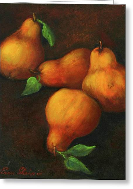 Pear Art Greeting Cards - Honey Pears Greeting Card by Enzie Shahmiri