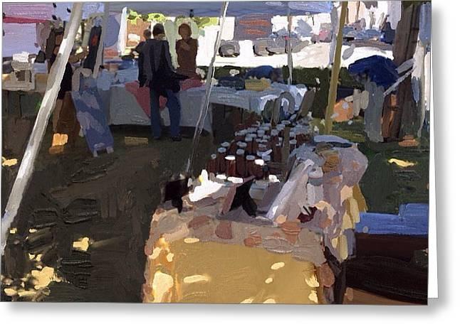 Honey Tent At Farmer's Market Greeting Card