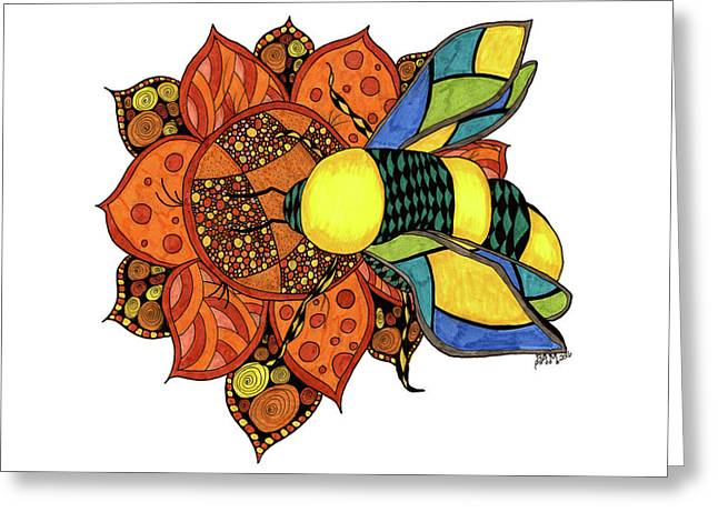 Greeting Card featuring the drawing Honeybee On A Flower by Barbara McConoughey