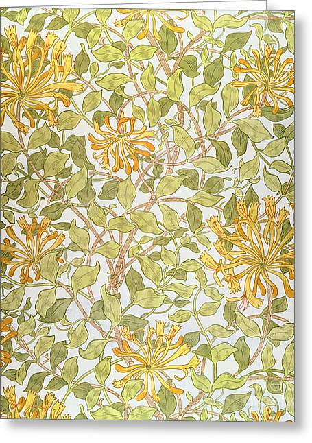 Honeysuckle Design Greeting Card by William Morris