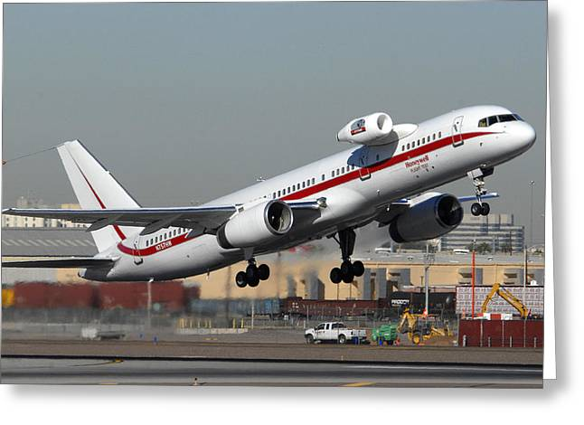 Honeywell Boeing 757 Engine Testbed At Phoenix Sky Harbor On November 11 2010 Greeting Card by Brian Lockett