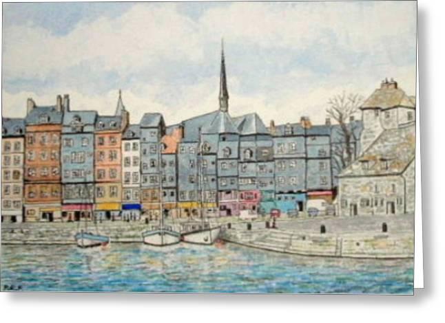Honfleur Harbour, Normandy, France Greeting Card