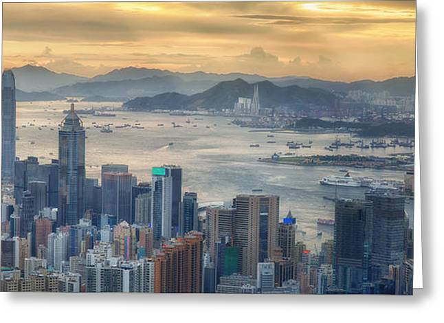 Hong Kong And Kowloon Greeting Card by Anek Suwannaphoom