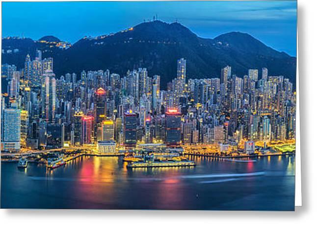 Hong Kong City  Greeting Card by Anek Suwannaphoom
