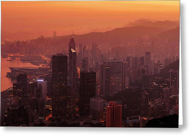 Hong Kong City View From Victoria Peak Greeting Card