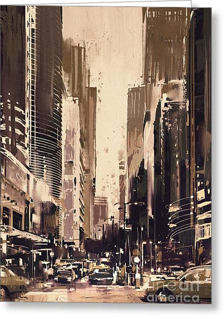 Greeting Card featuring the painting Hong-kong Cityscape Painting by Tithi Luadthong